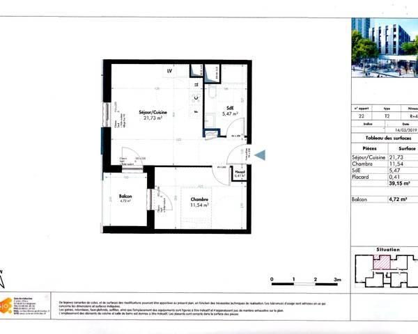 2 pièces avec balcon - Epsilon plan lot 22
