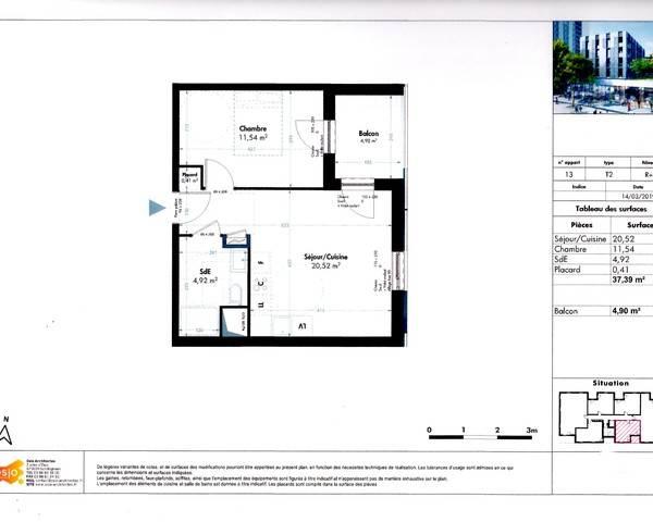 2 pièces avec balcon - Epsilon plan lot 13