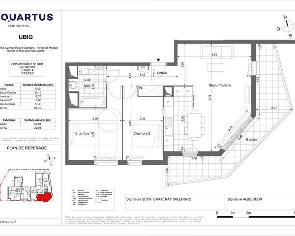 92290 CHATENAY- MALABRY - APPARTEMENT NEUF- 3 PIECES - 66m² - Plan