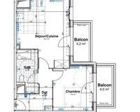 Appartement 2 pièces 44 m² - Plan verneuil